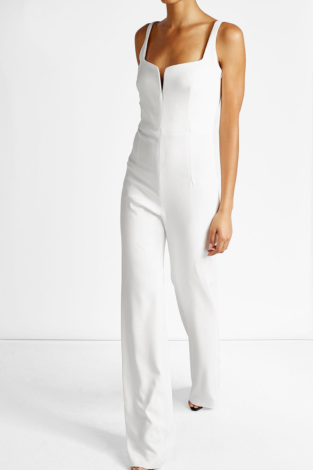 galvan crepe jumpsuit in white lyst. Black Bedroom Furniture Sets. Home Design Ideas