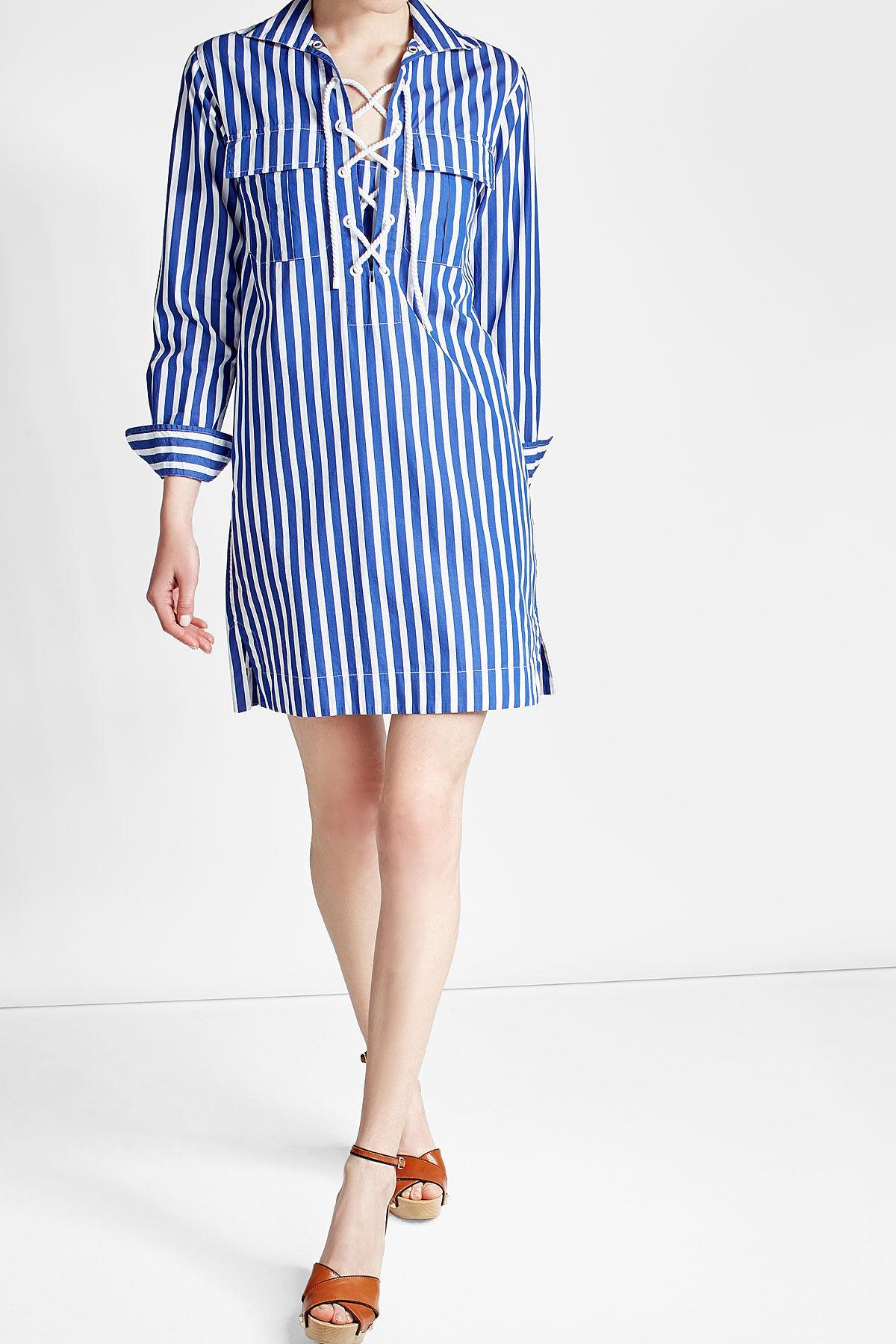 Polo Ralph Lauren Cotton Lace Up Shirt Dress In Blue Lyst