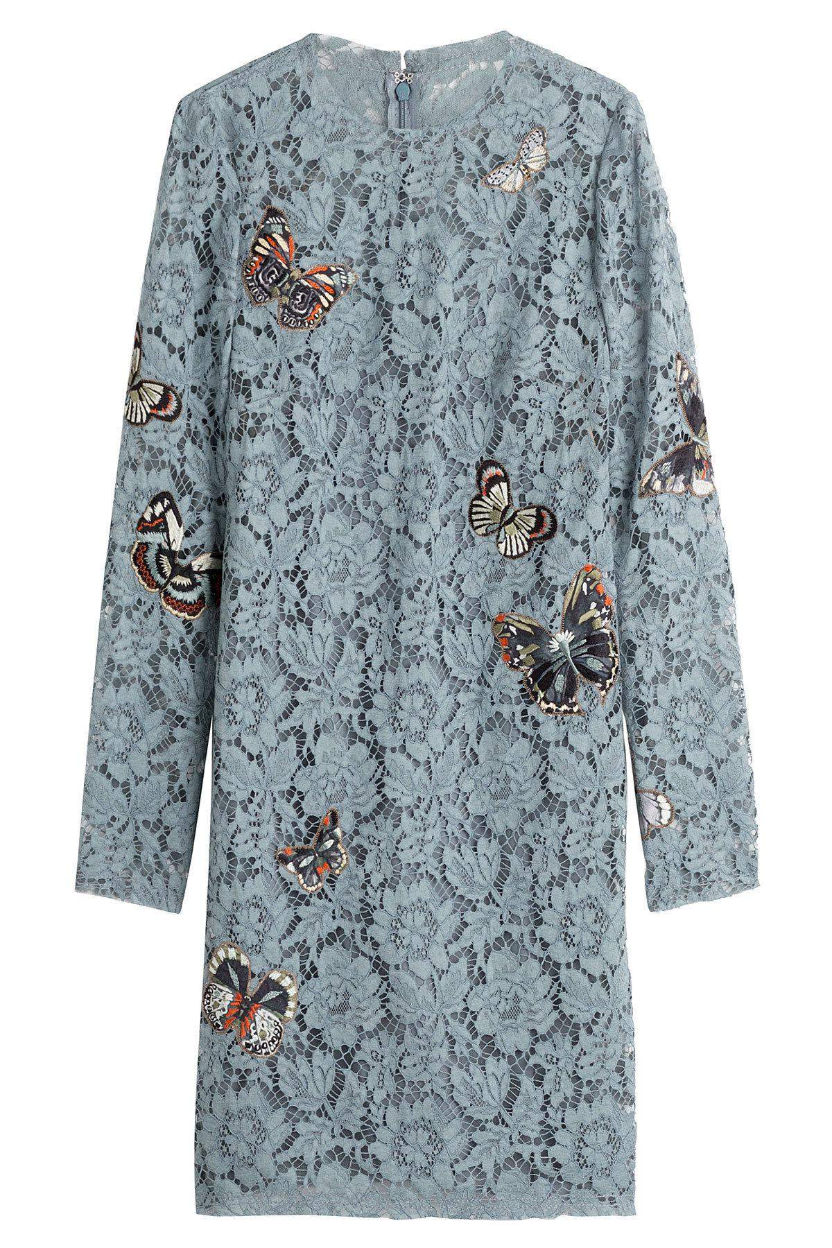 Lyst valentino butterfly embroidered lace dress in blue