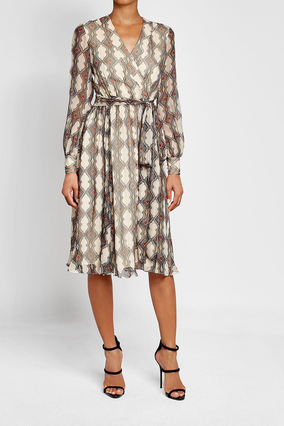 9affe1b6e Lyst - DHELA Printed Silk Dress With Metallic Thread