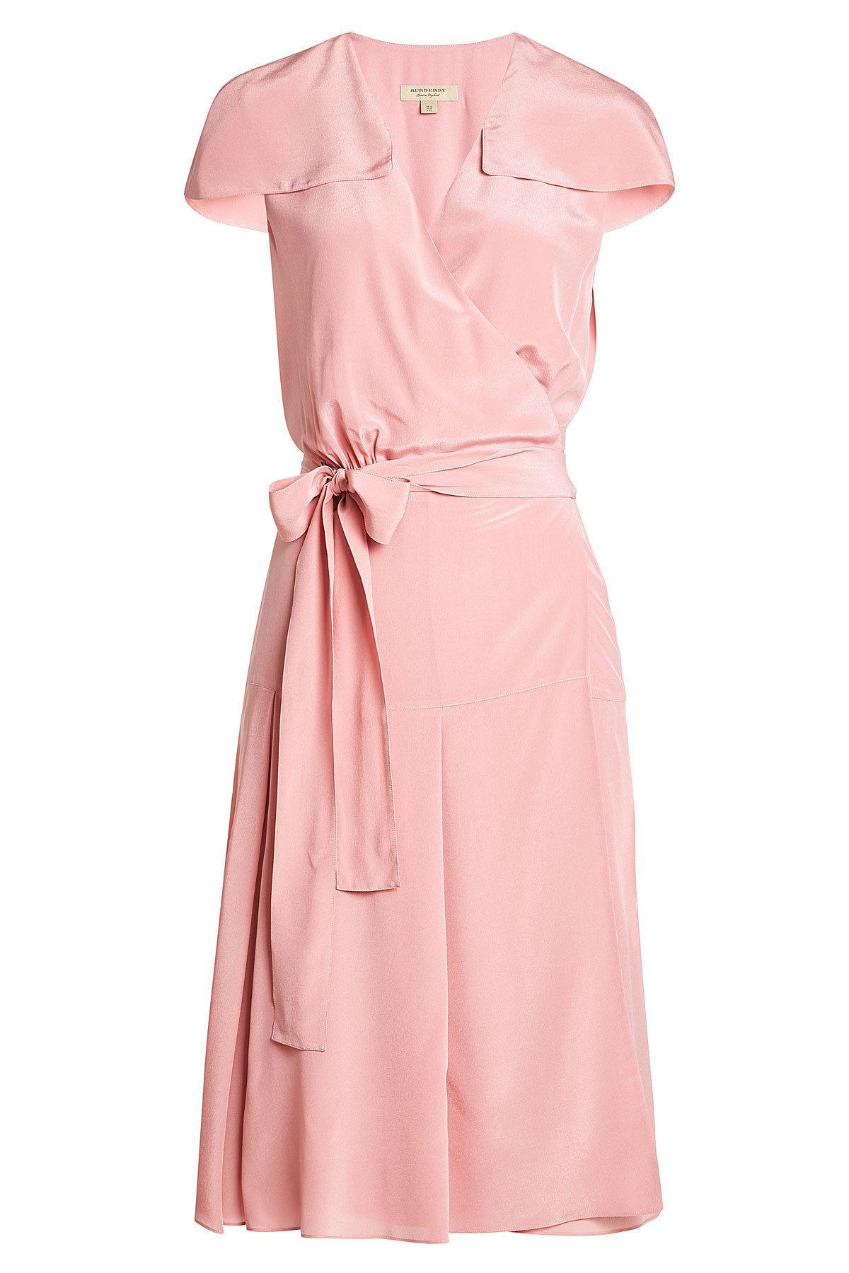 Lyst - Robe en soie Burberry en coloris Rose 7af3c64300f
