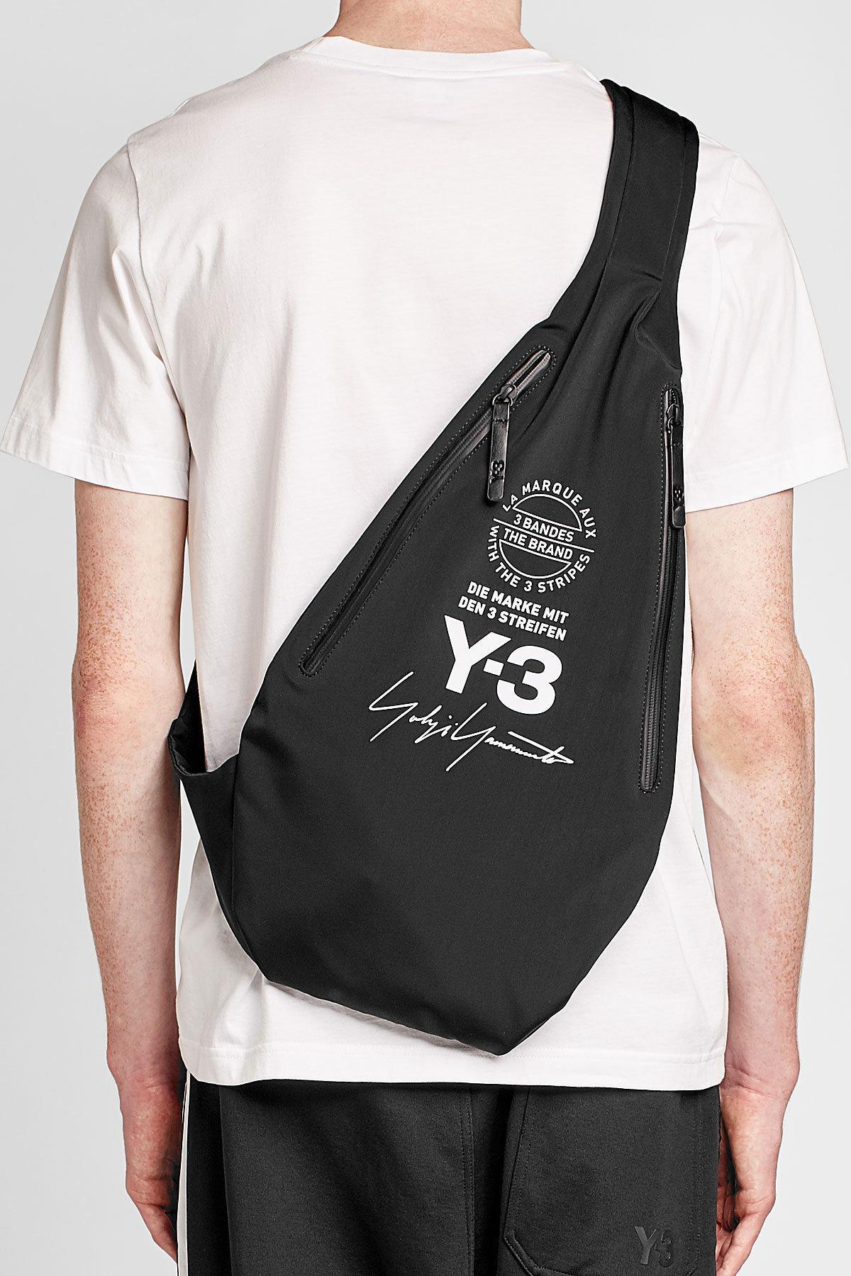 Lyst - Y-3 Fabric Messenger Bag in Black for Men b57288133b4cc
