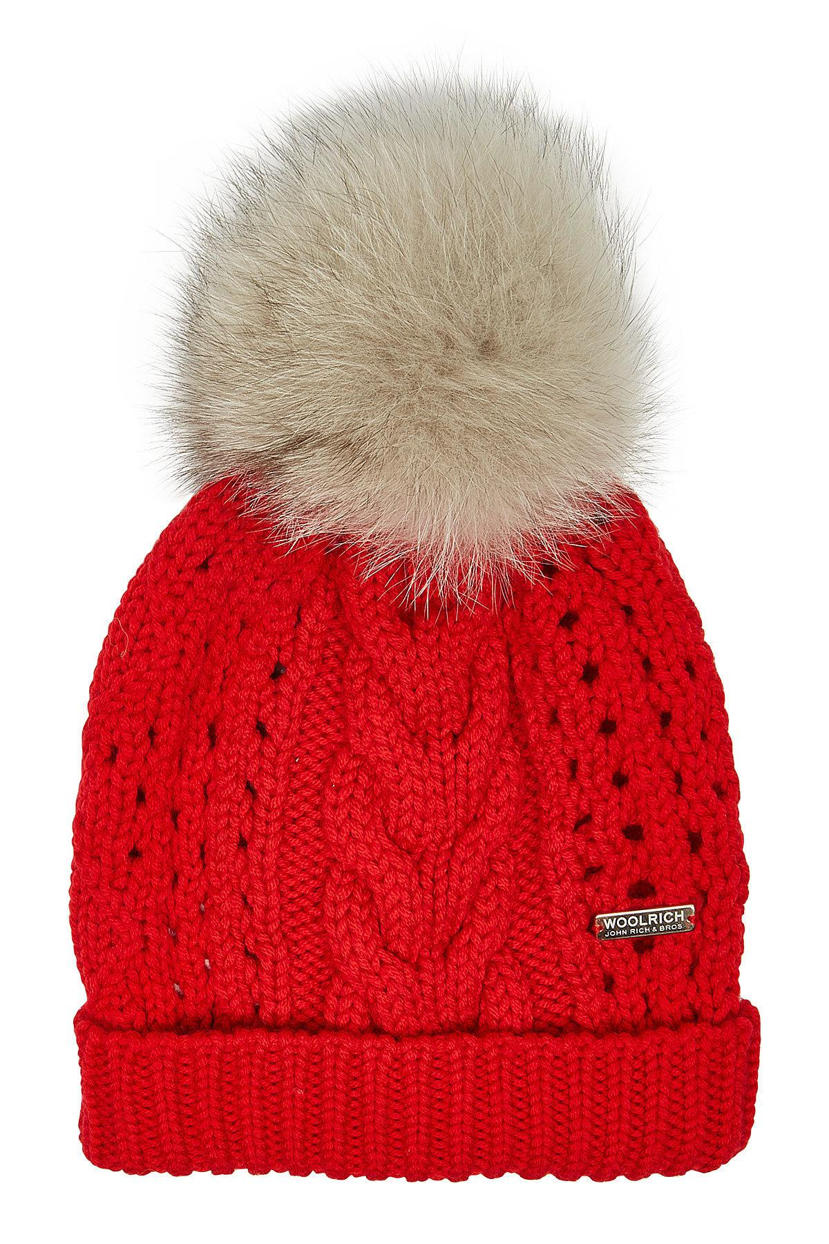 e1214eac58fab Woolrich Serenity Wool Hat With Fox Fur in Red - Lyst