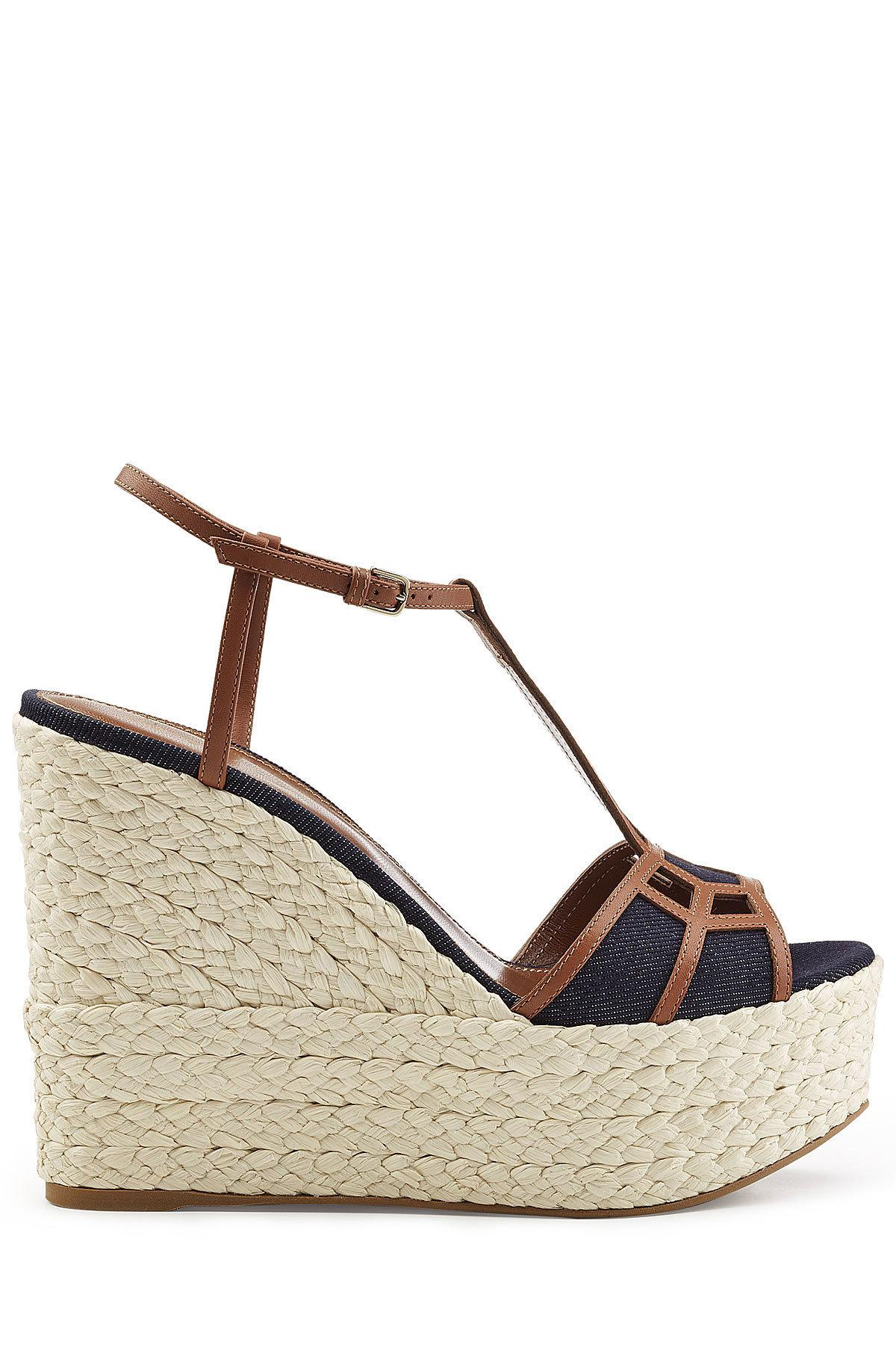 Sergio Rossi Leather and Denim Wedge Sandals Cheap Best Store To Get Buy Cheap Huge Surprise Discount Footlocker Cheap Price Discount Authentic CEMkCnsw