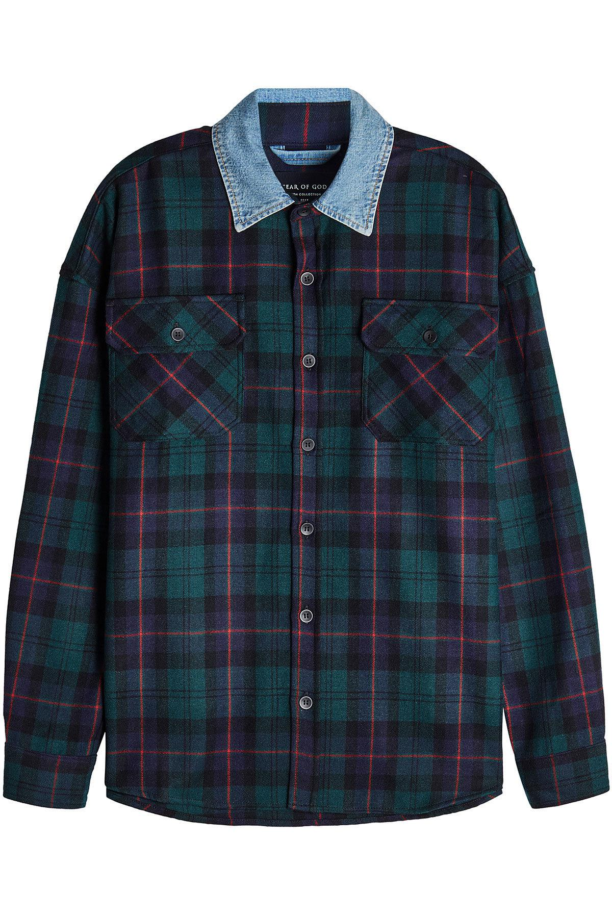 d5ac59667e Fear Of God Plaid Wool Shirt With Denim Collar in Blue for Men - Lyst