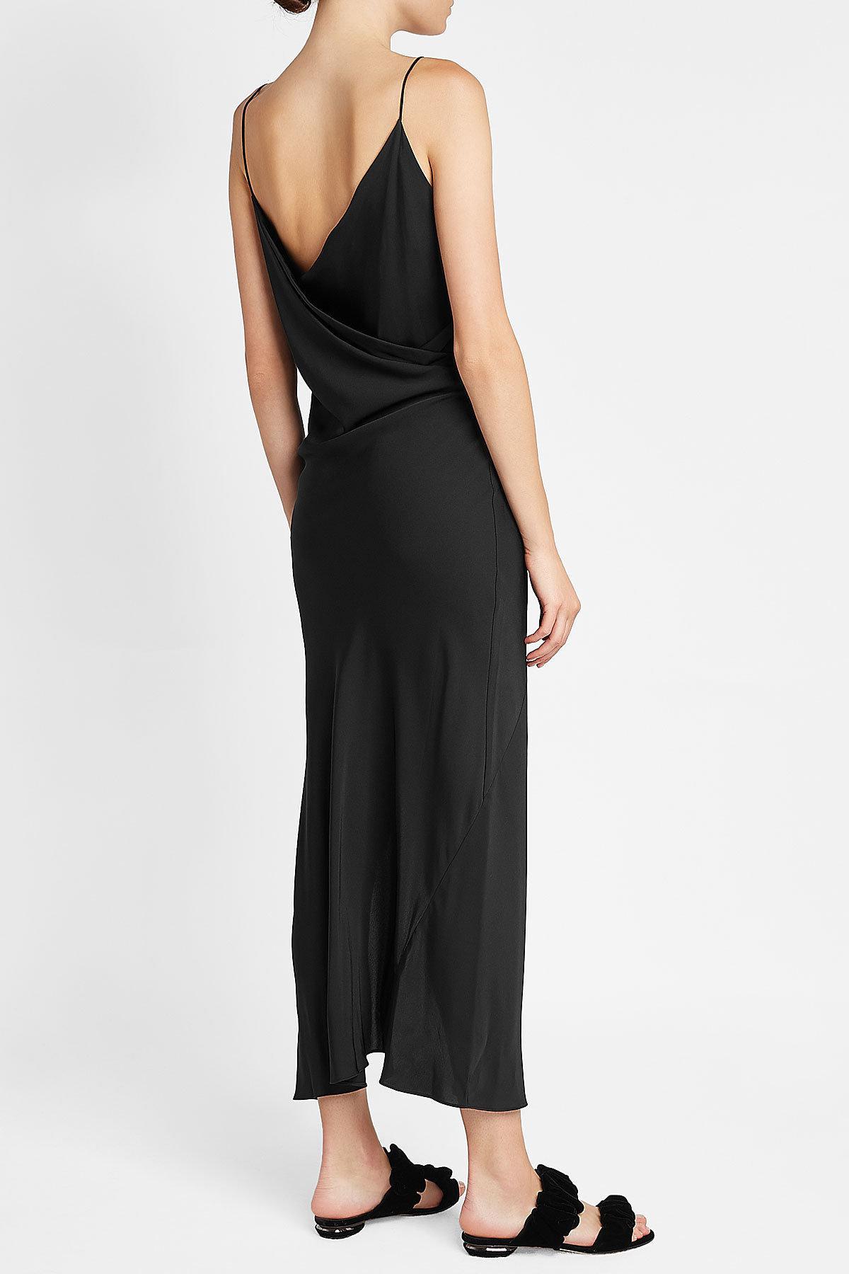 5acf147b5b8b39 Theory Draped Back Silk Maxi Dress in Black - Lyst