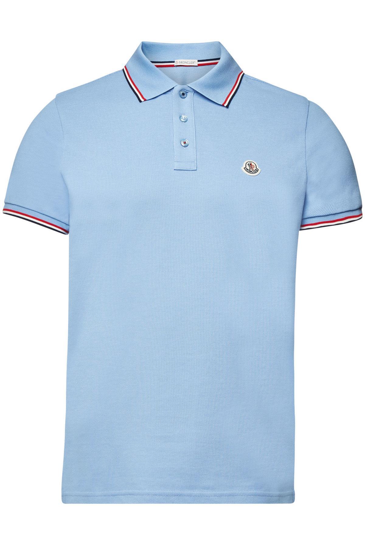 c7e2a62496d12 Moncler - Blue Cotton Polo T-shirt for Men - Lyst. View fullscreen