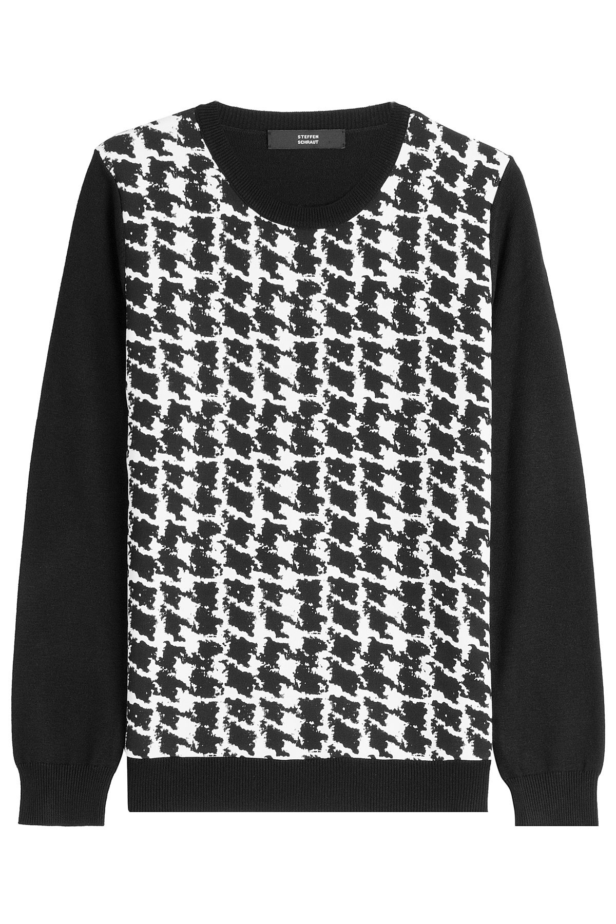 steffen schraut printed knit pullover black in black lyst. Black Bedroom Furniture Sets. Home Design Ideas
