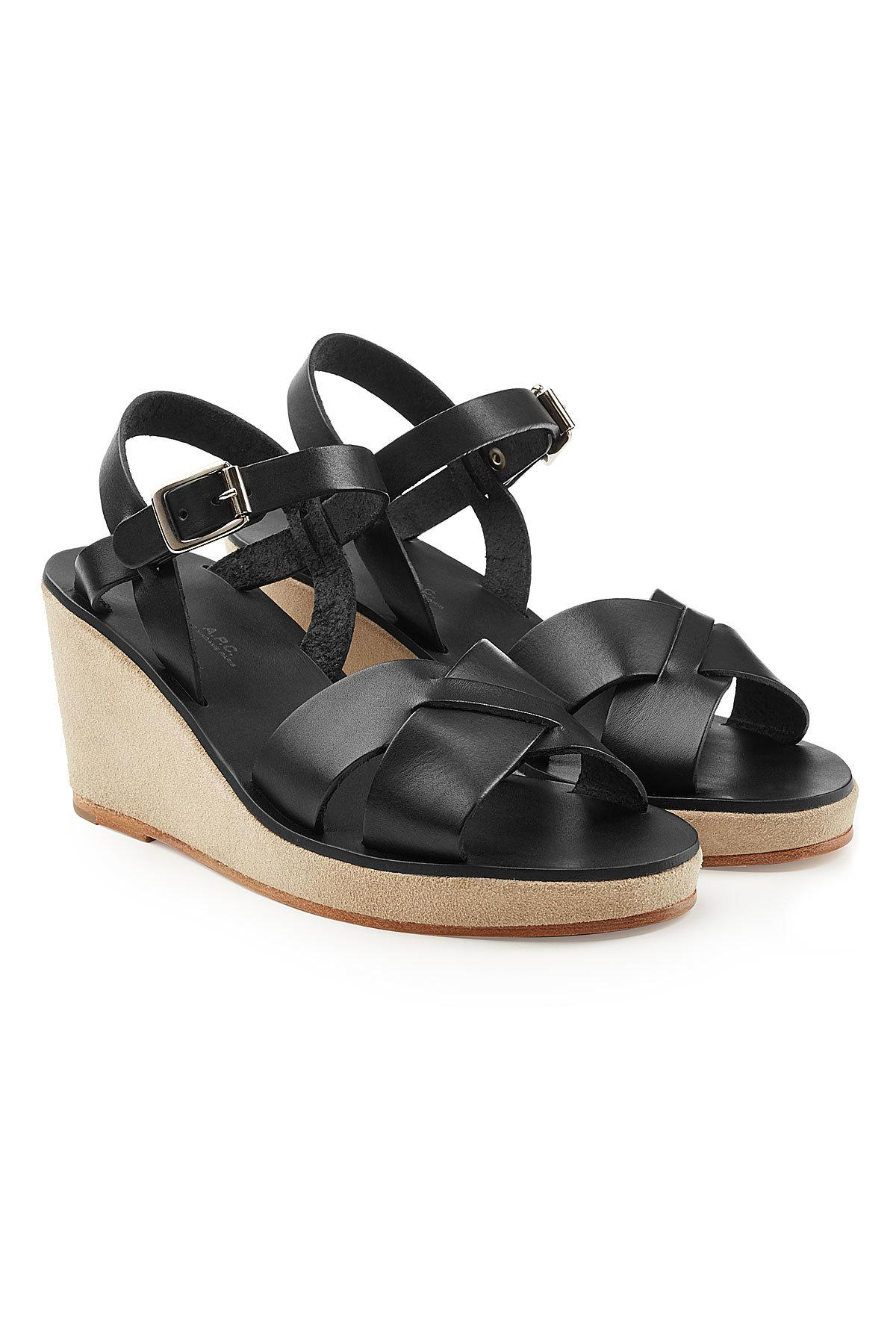 Lyst A P C Judith Leather Sandals In Black