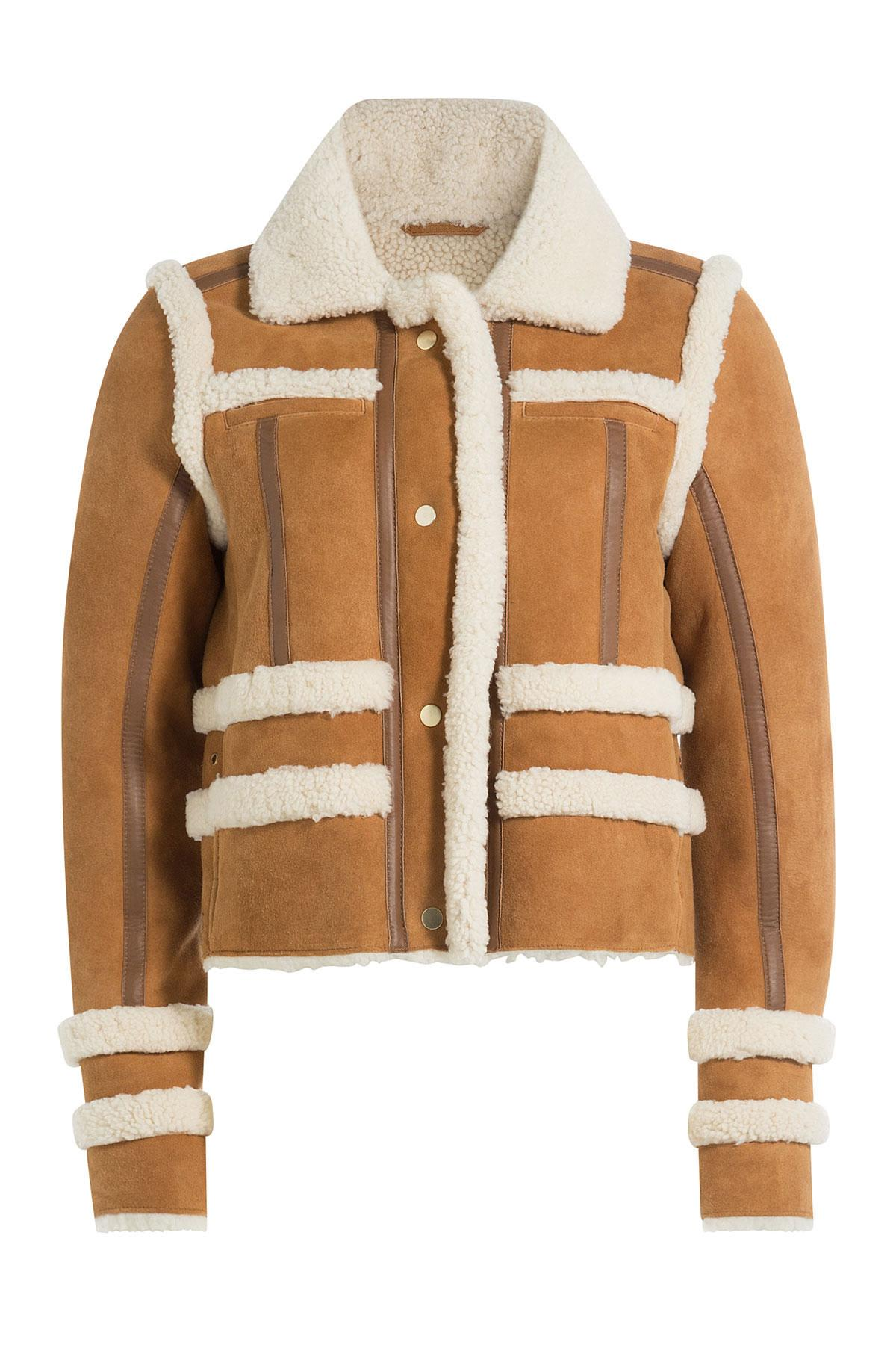 carven sheepskin jacket with shearling camel in