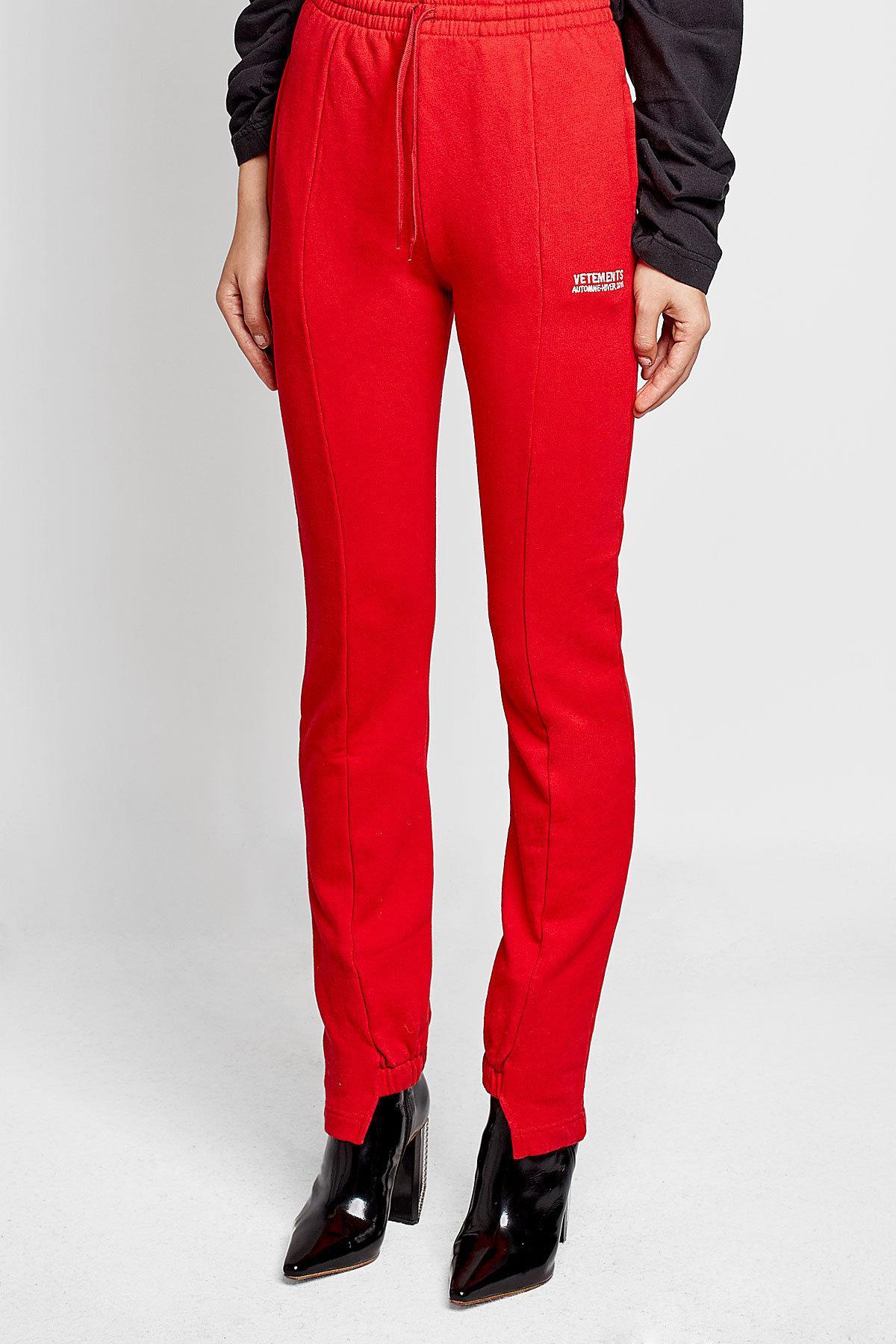 05a92671e1d88b Lyst - Pantalon de jogging en coton Vetements en coloris Rouge