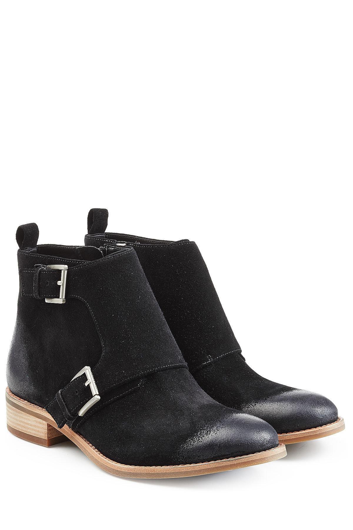 lyst michael michael kors suede ankle boots in black. Black Bedroom Furniture Sets. Home Design Ideas