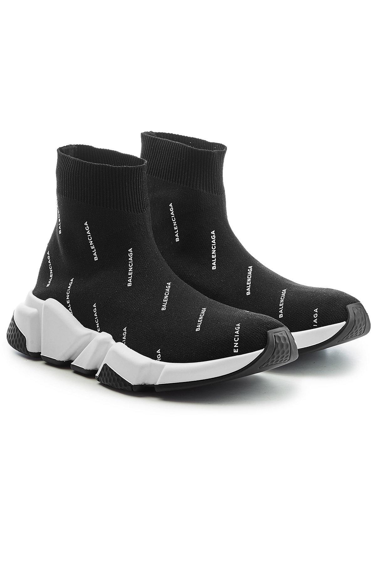 Balenciaga Sneaker Slip-On Speed Trainer Baumwollmischung Logo Print schwarz wei? jKLIgf