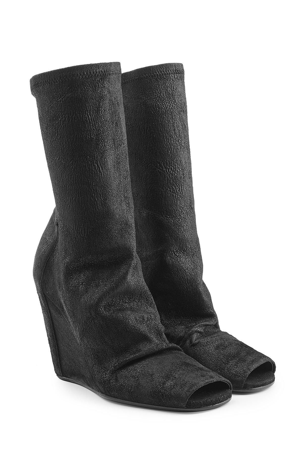 Lyst Rick Owens Leather Wedge Ankle Boots With Open Toe