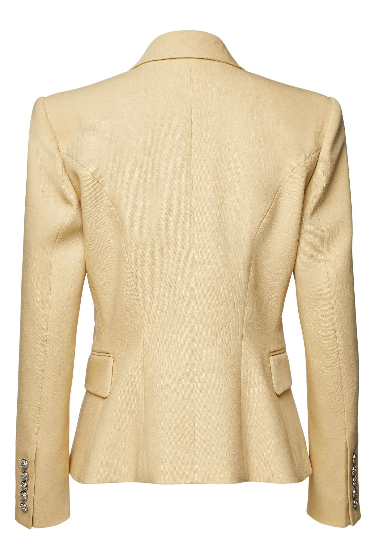 6ed8688f8 Lyst - Balmain Wool Blazer With Embossed Buttons in Natural