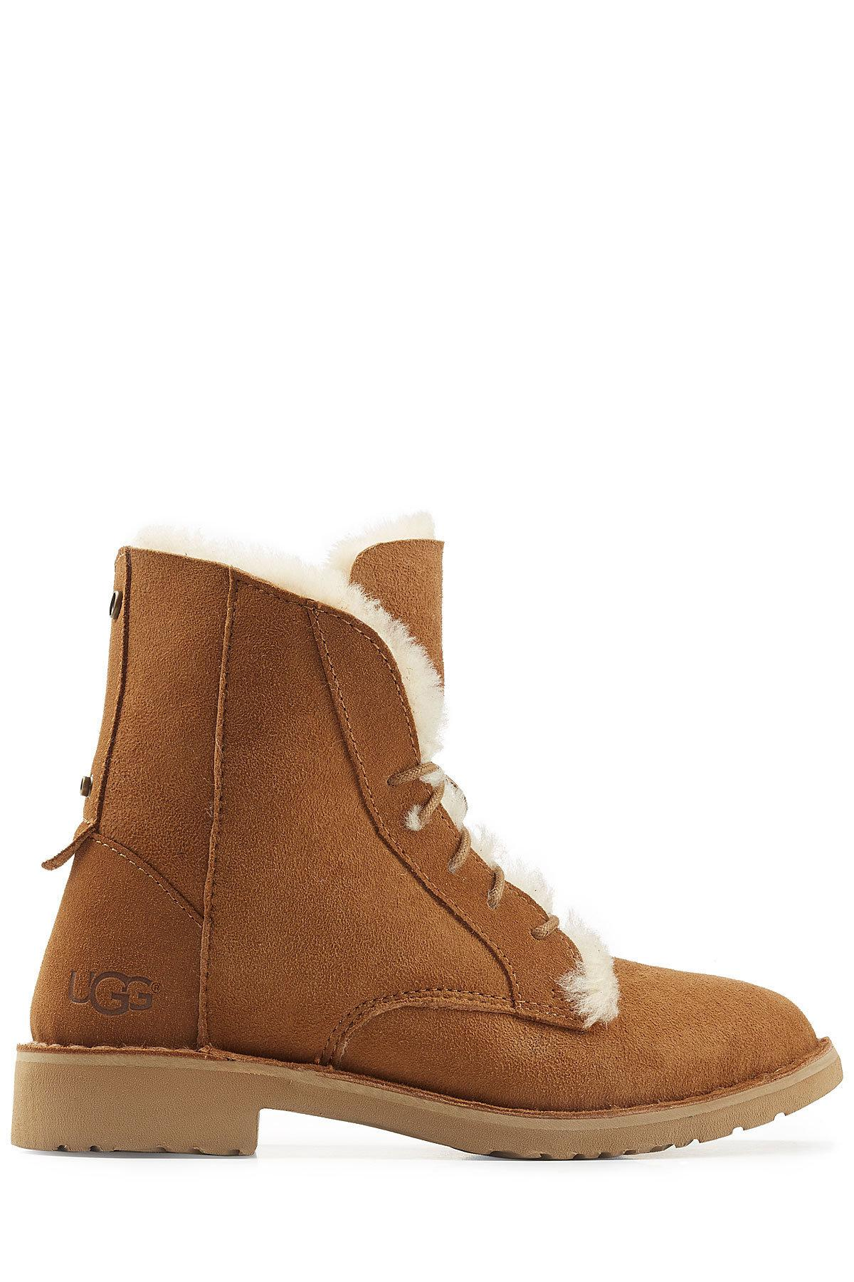 Ugg Suede Lace Up Boots With Searling Lining In Brown Lyst