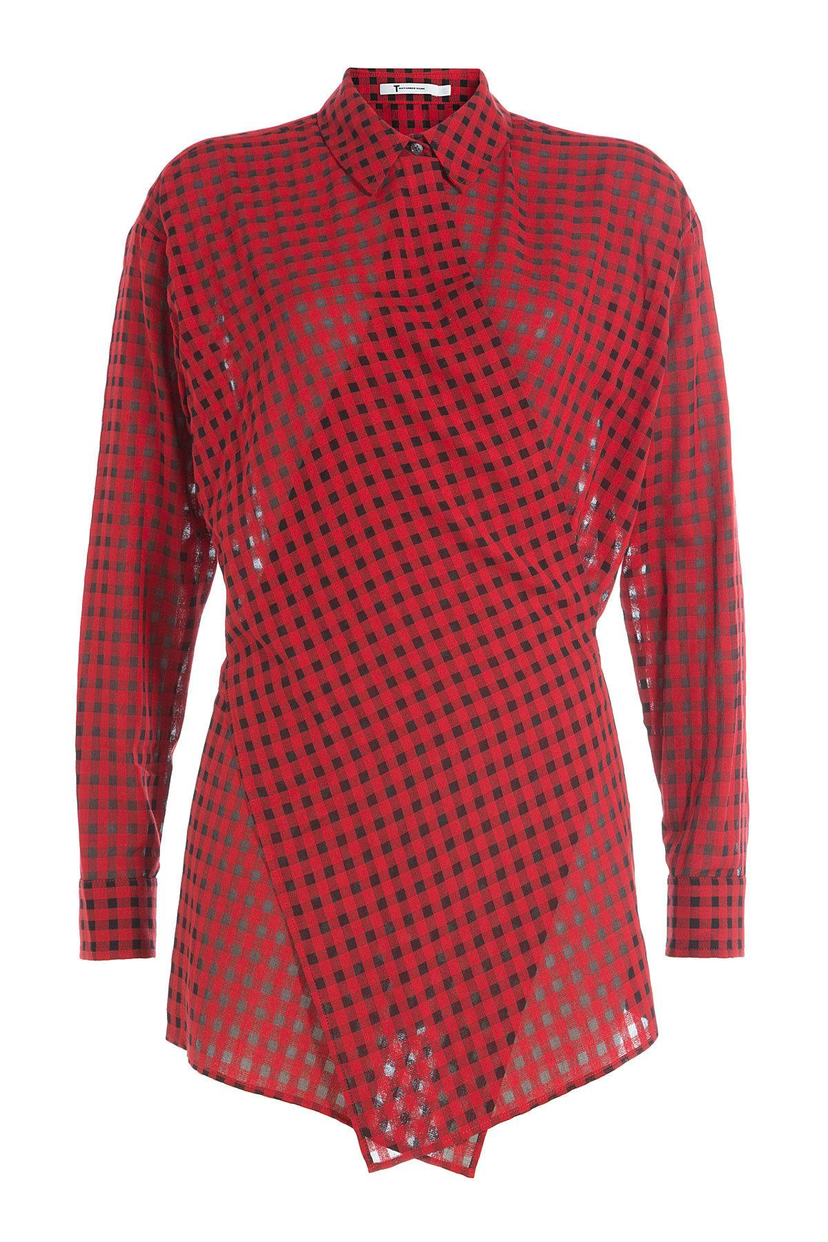 T by alexander wang wrap around printed shirt in red lyst for Wrap style t shirts