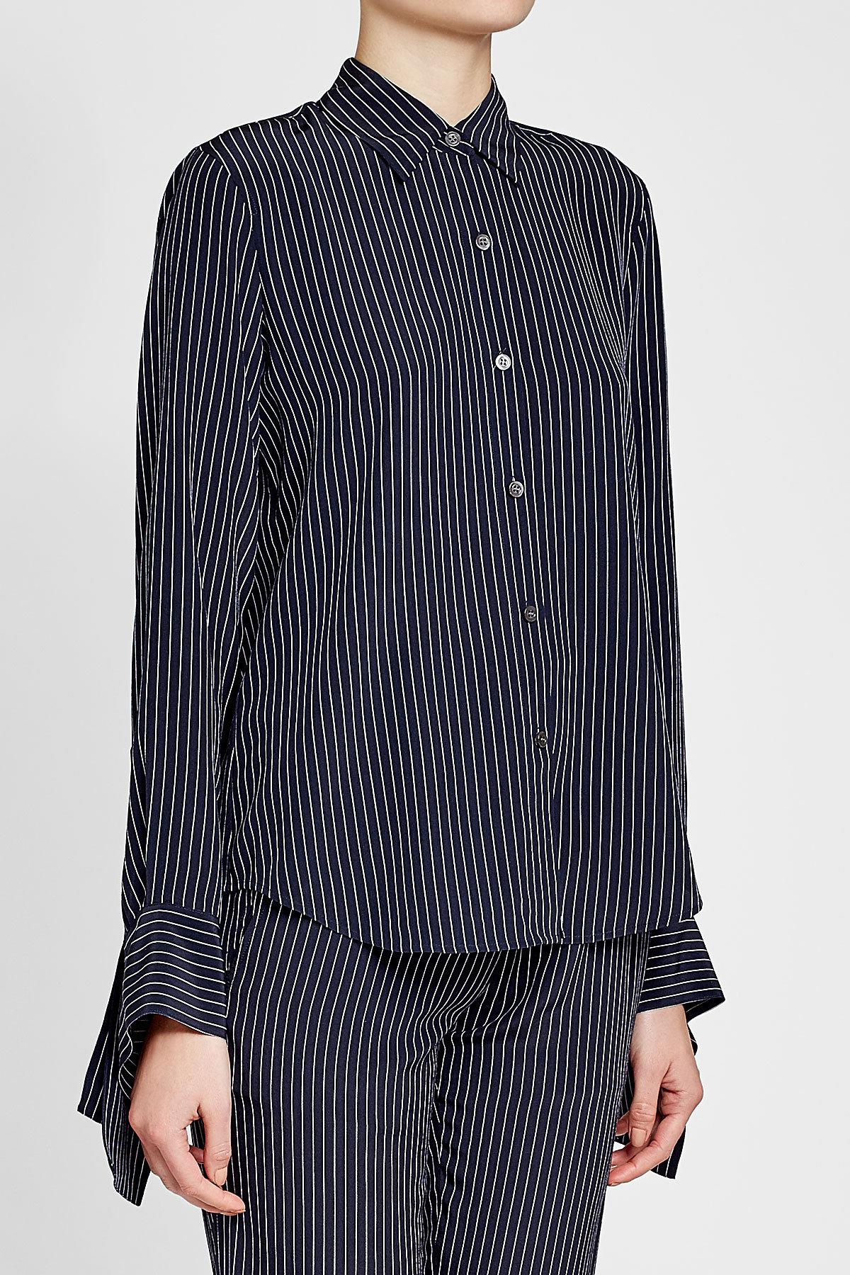 fe3a682b3dcc0b Theory Striped Silk Blouse With Bow Cuffs in Blue - Lyst
