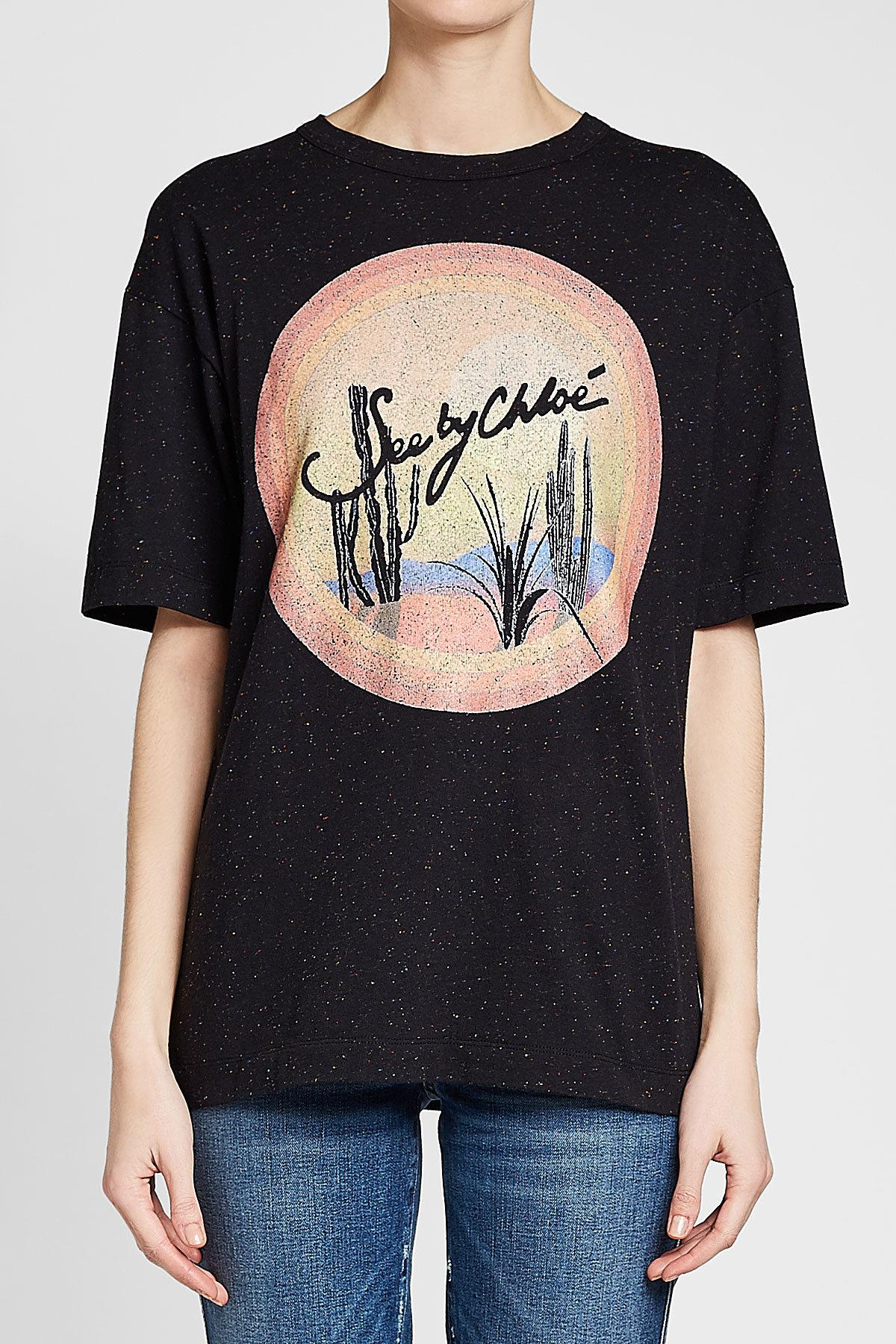 2e99b325 See By Chloé Printed Cotton T-shirt in Black - Lyst