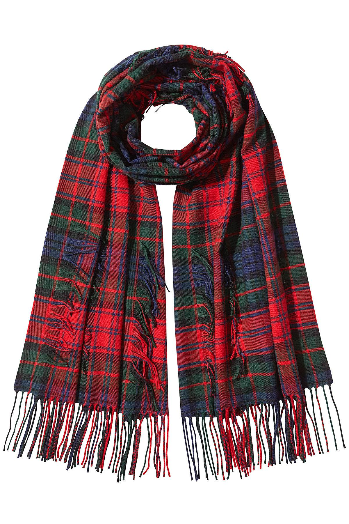 0c52cac90b1d Lyst - Burberry Tartan Check Fringe Scarf in Red