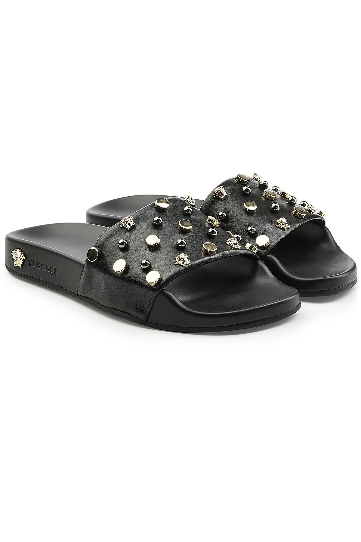 Versace Embellished Leather Slides In Black Lyst