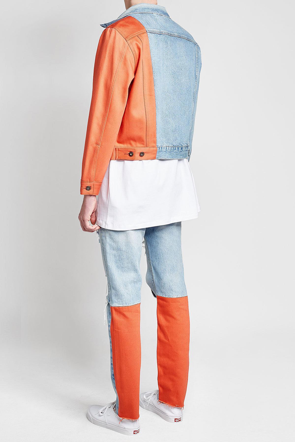 7924cb2a1 Off-White c/o Virgil Abloh Blue X Levi's Splice Trucker Denim Jacket With  Contrast Sleeve