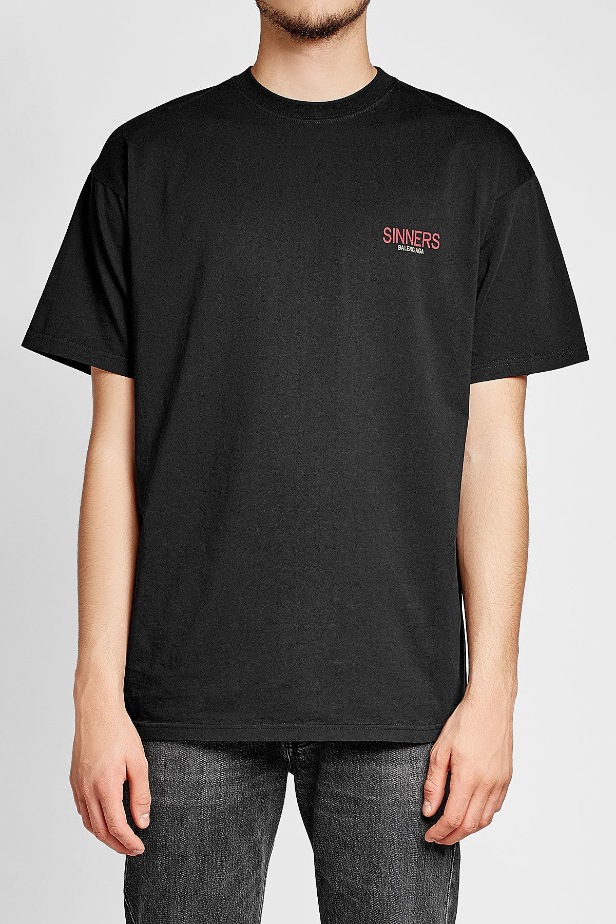 Lyst Balenciaga Sinners Printed Cotton T Shirt In Black