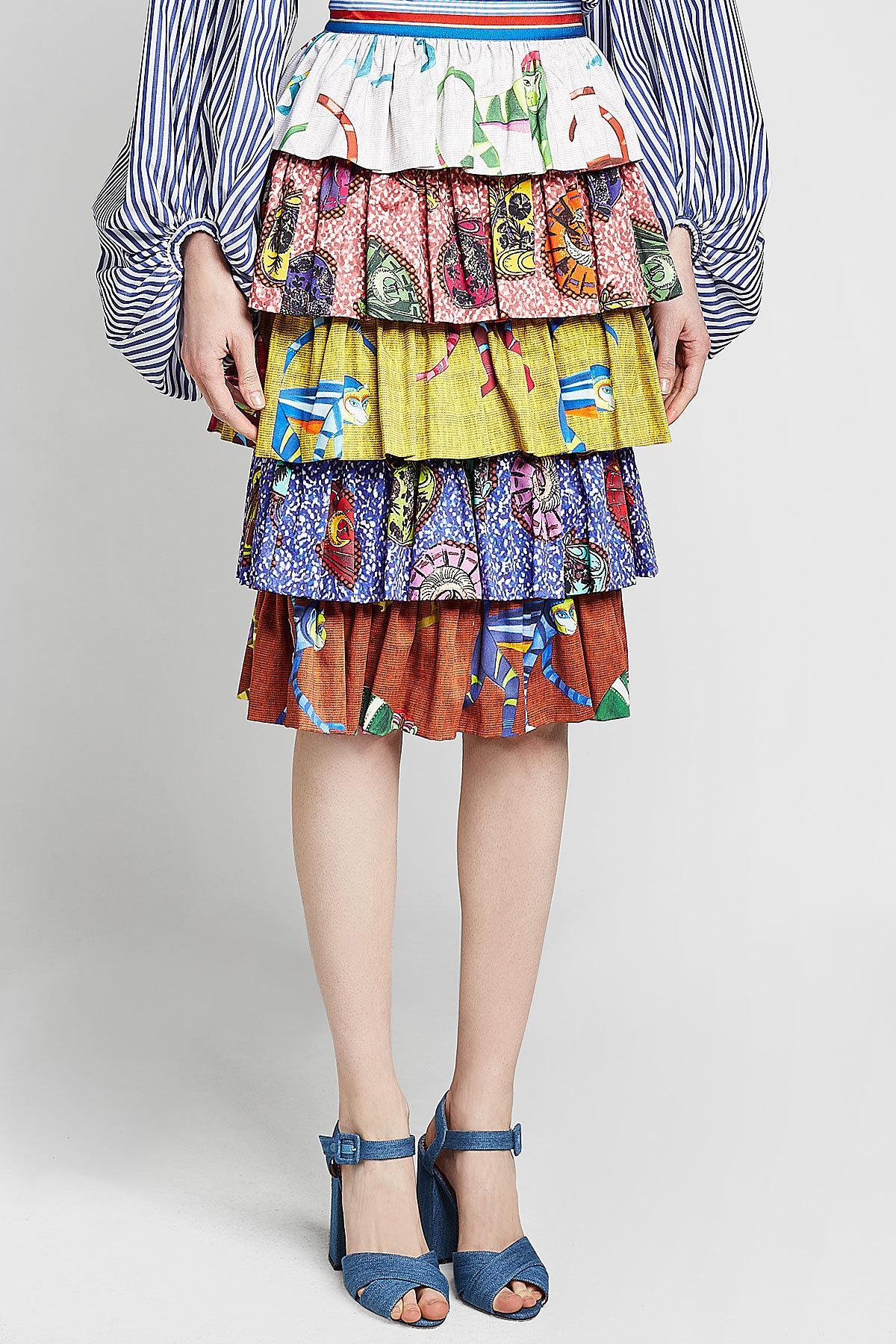 7734ea9788 Stella Jean - Multicolor Tiered Cotton Print Skirt - Lyst. View fullscreen