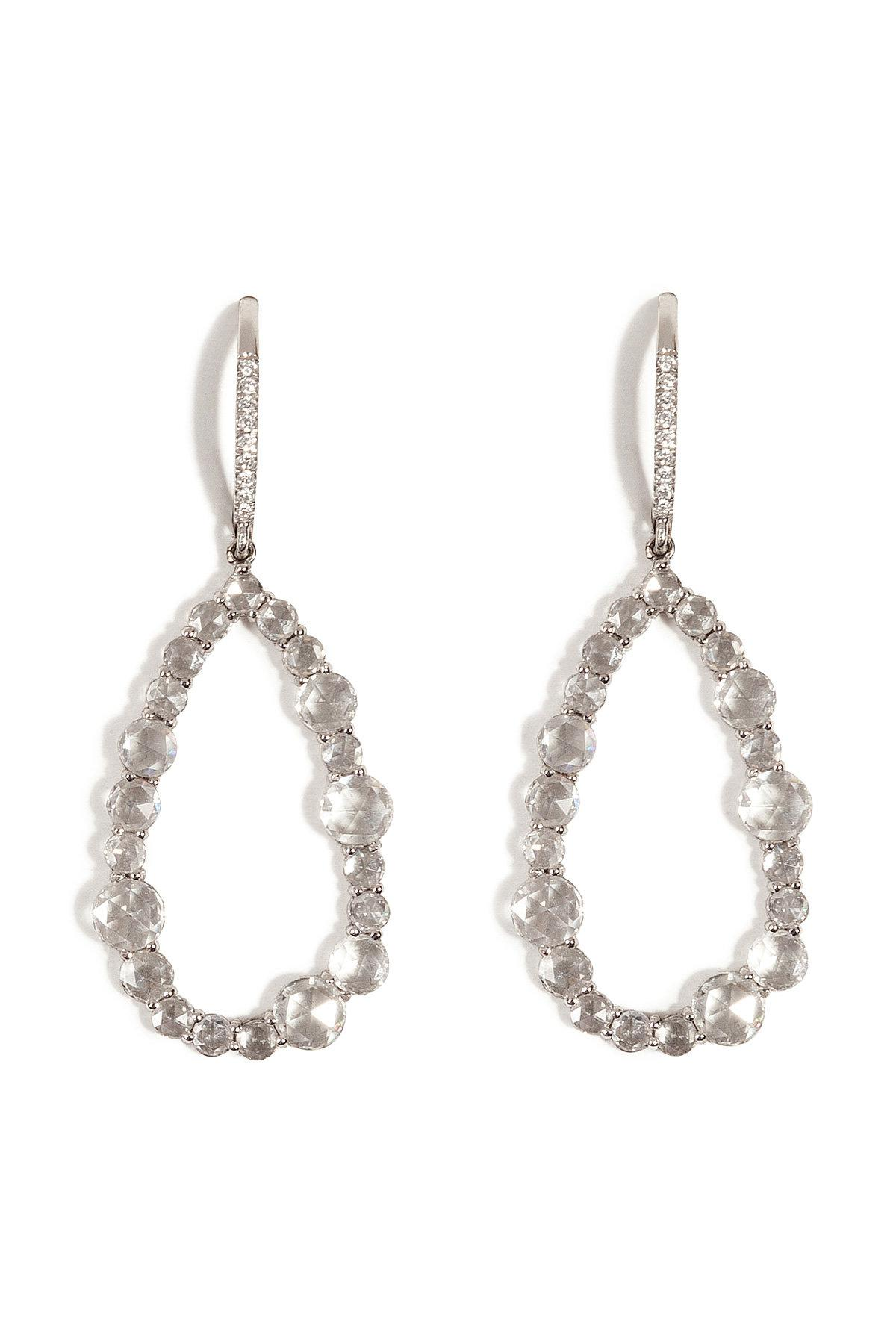 Lyst susan foster 14k white gold chandelier earrings with diamonds gallery aloadofball Images