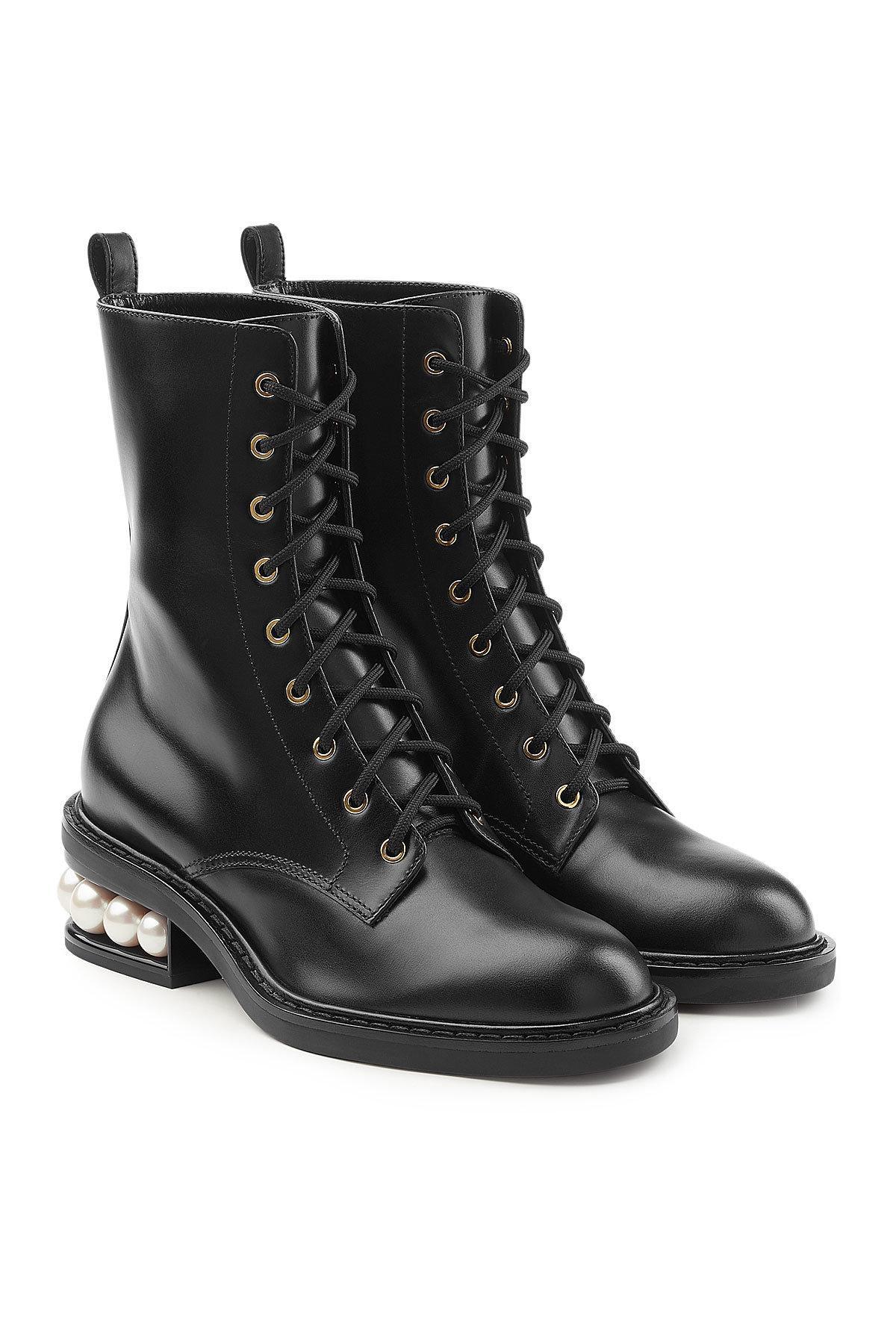 Combat Boots Casati Pearl 35mm en Coton et Viscose NoirNicholas Kirkwood THVBqFzL3