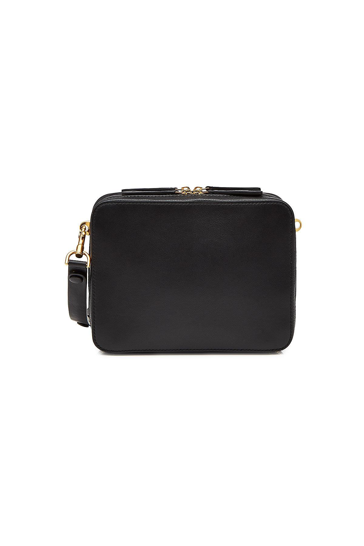The Stack Double Crossbody Bag in Black Circus Leather Anya Hindmarch E7gfqB3mh