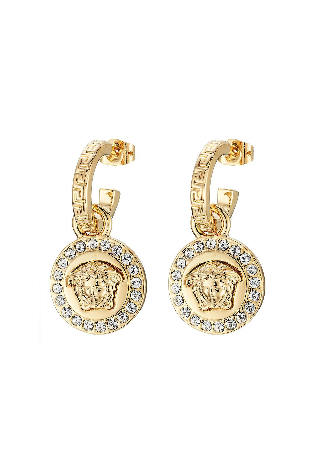 Lyst Versace Embellished Earrings In Metallic