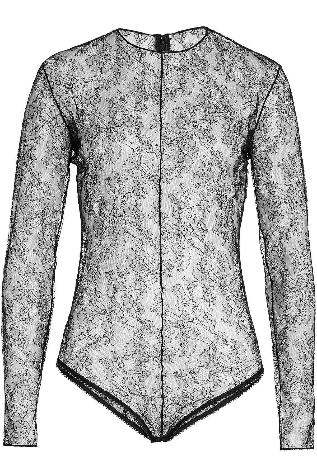 f080b3ec93 Lyst - Nina Ricci Lace Bodysuit in Black