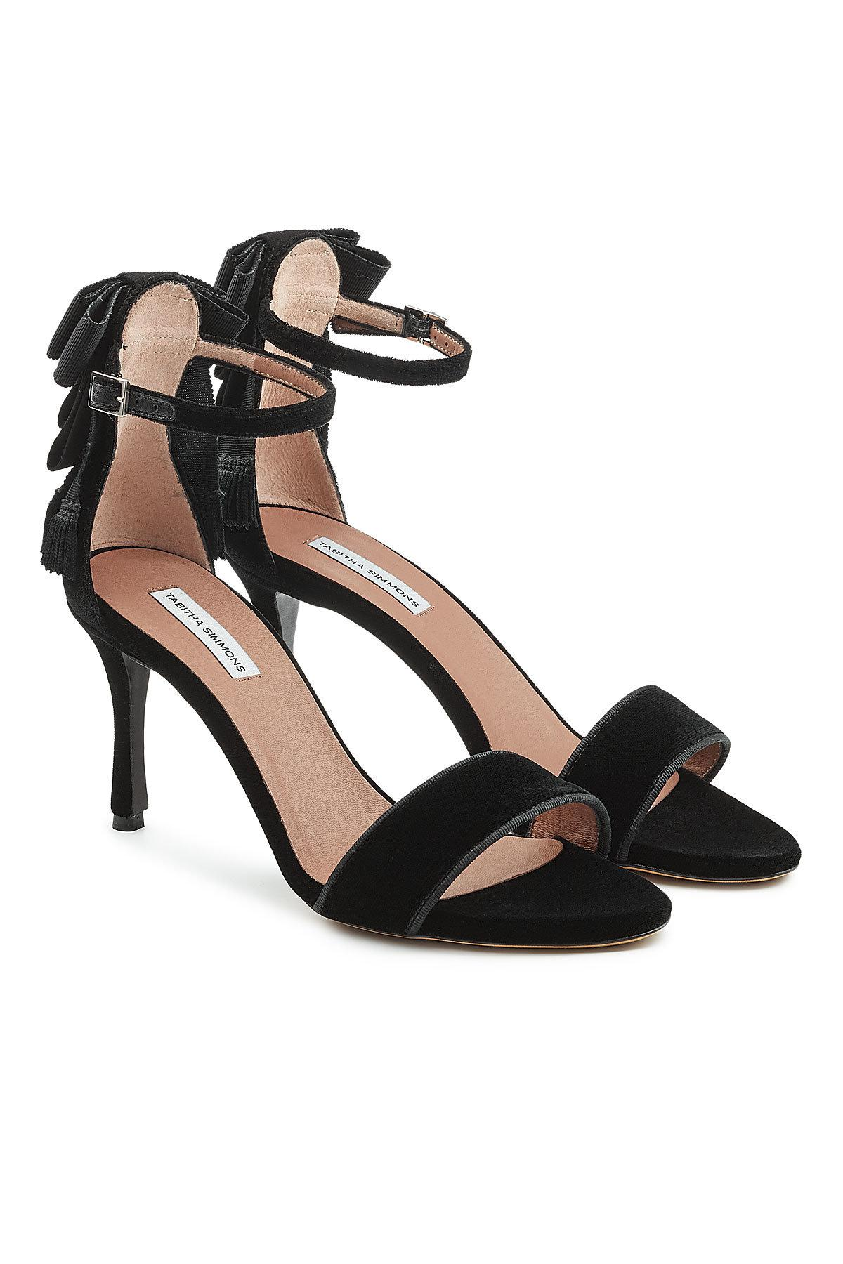 Tabitha Simmons Women's Frances Velvet Ankle Bow High-Heel Sandals 9MIi1at