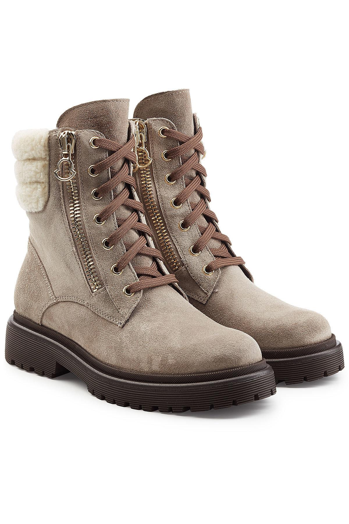 Moncler. Women's Brown Shearling Ankle Boots