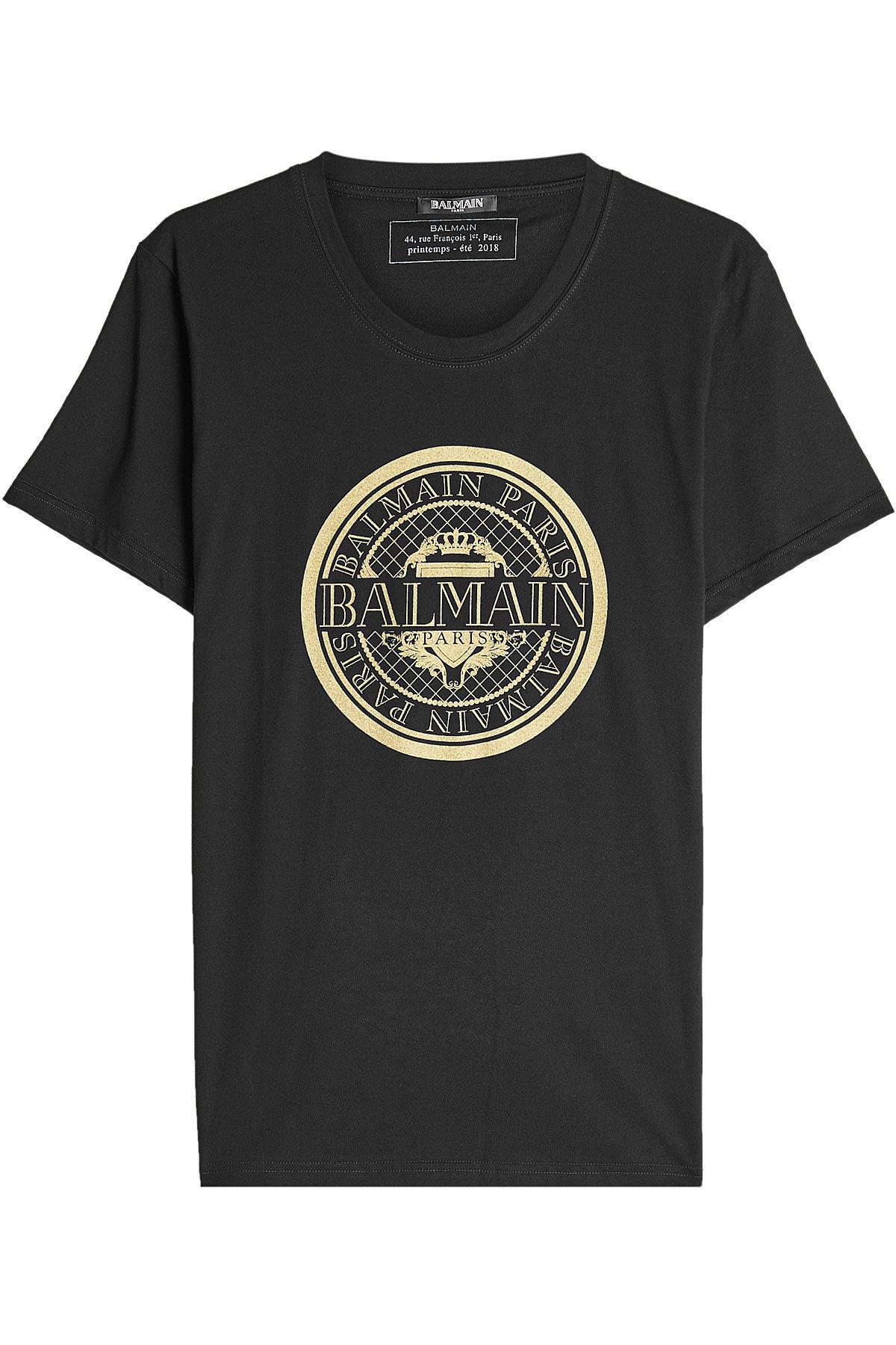 Lyst Balmain Printed Cotton T Shirt In Black For Men