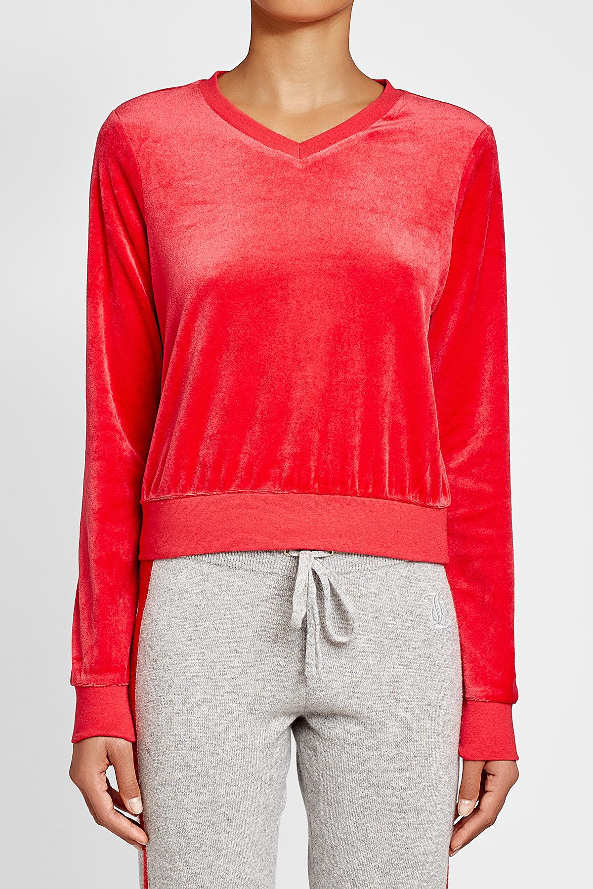 Juicy Couture Velour Top in Red - Lyst