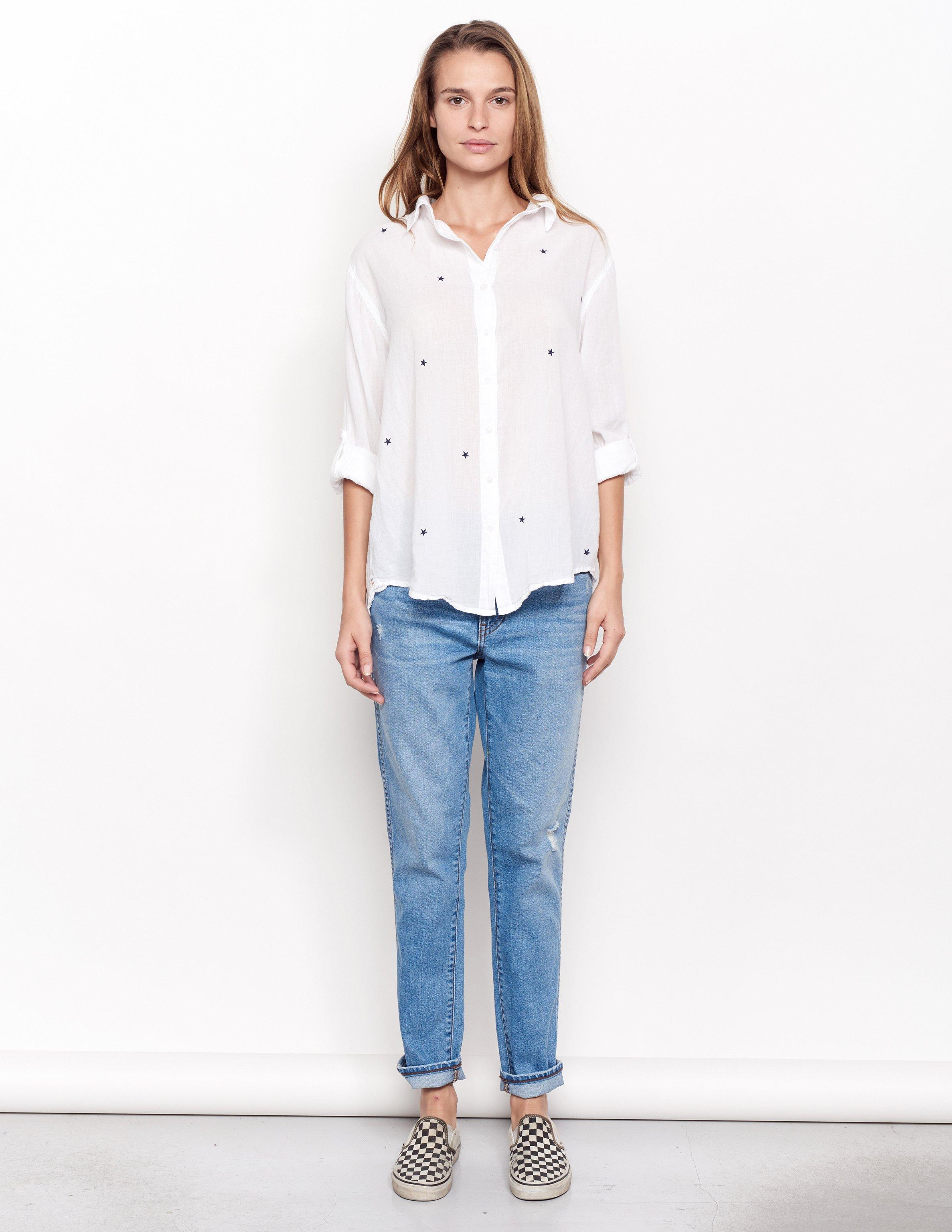 d5861f435cd Lyst - Sundry Hearts And Stars Oversized Shirt in White