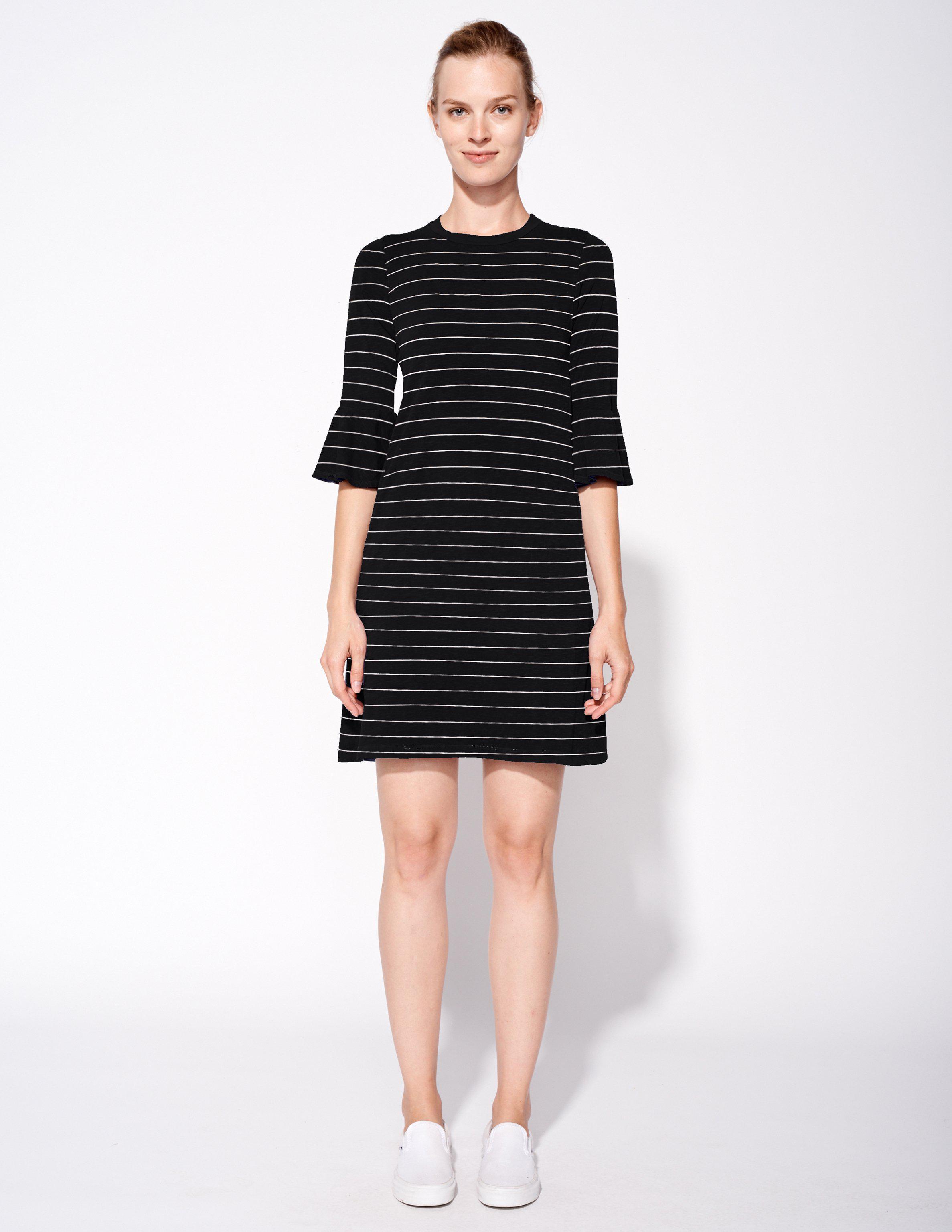 3190982ca1d94 Lyst - Sundry Stripes Ruffle Sleeve Dress in Black