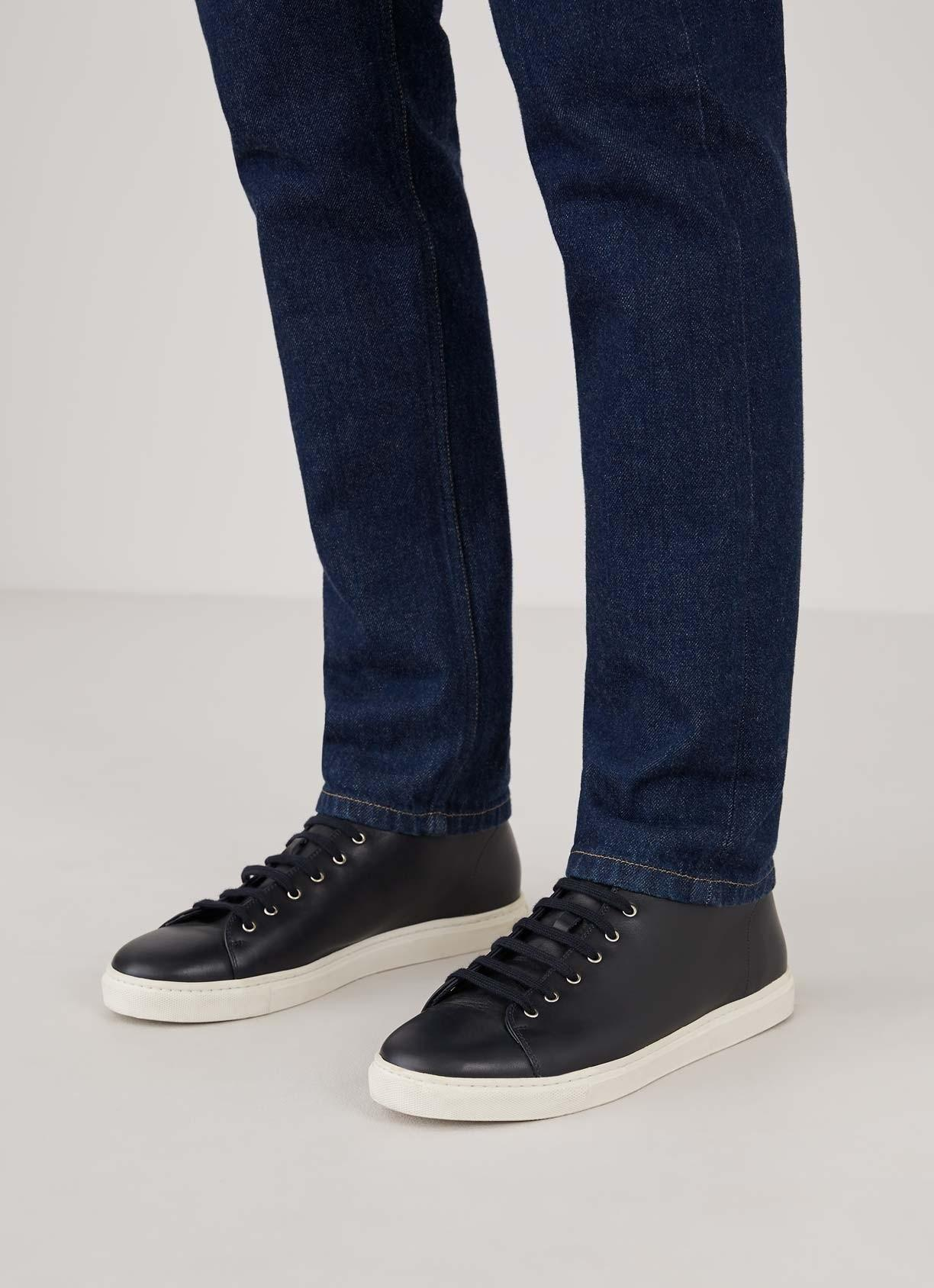 Sunspel Leather Men's High Top Tennis Shoes In Navy in Blue for Men