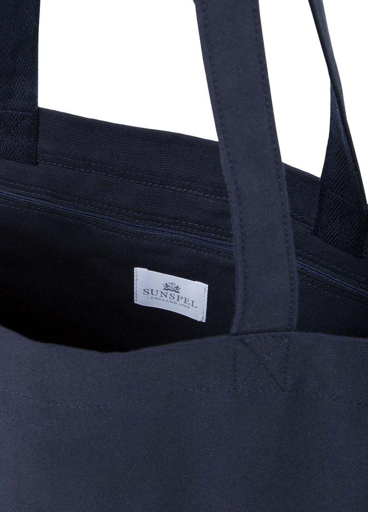 Sunspel Embroidered Tote Bag In Cotton Canvas In Navy in Blue