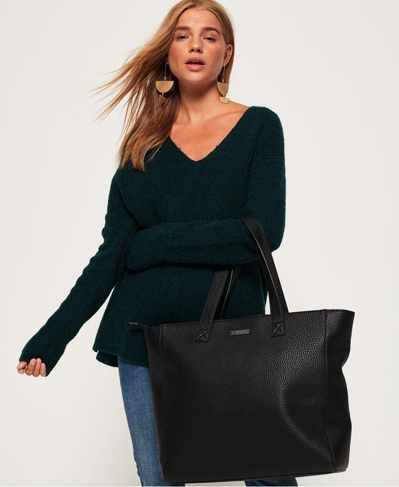 Superdry Elaina Star Perforated Tote Bag in Black