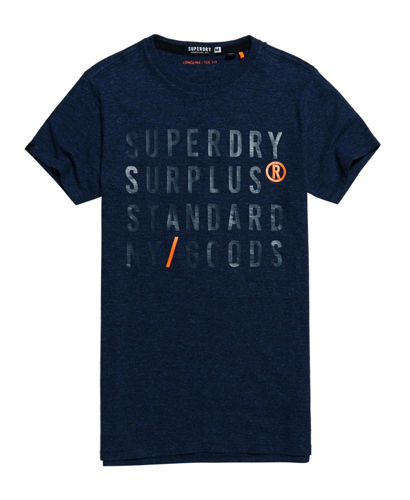 Lyst superdry surplus goods longline graphic t shirt in for Lands end logo shirts