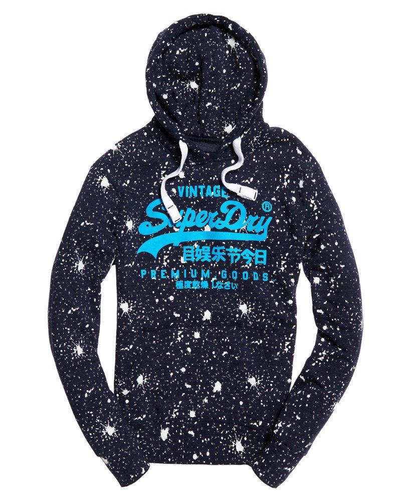 Superdry Premium Goods Paint Splatter Hoodie in Navy (Blue) for Men