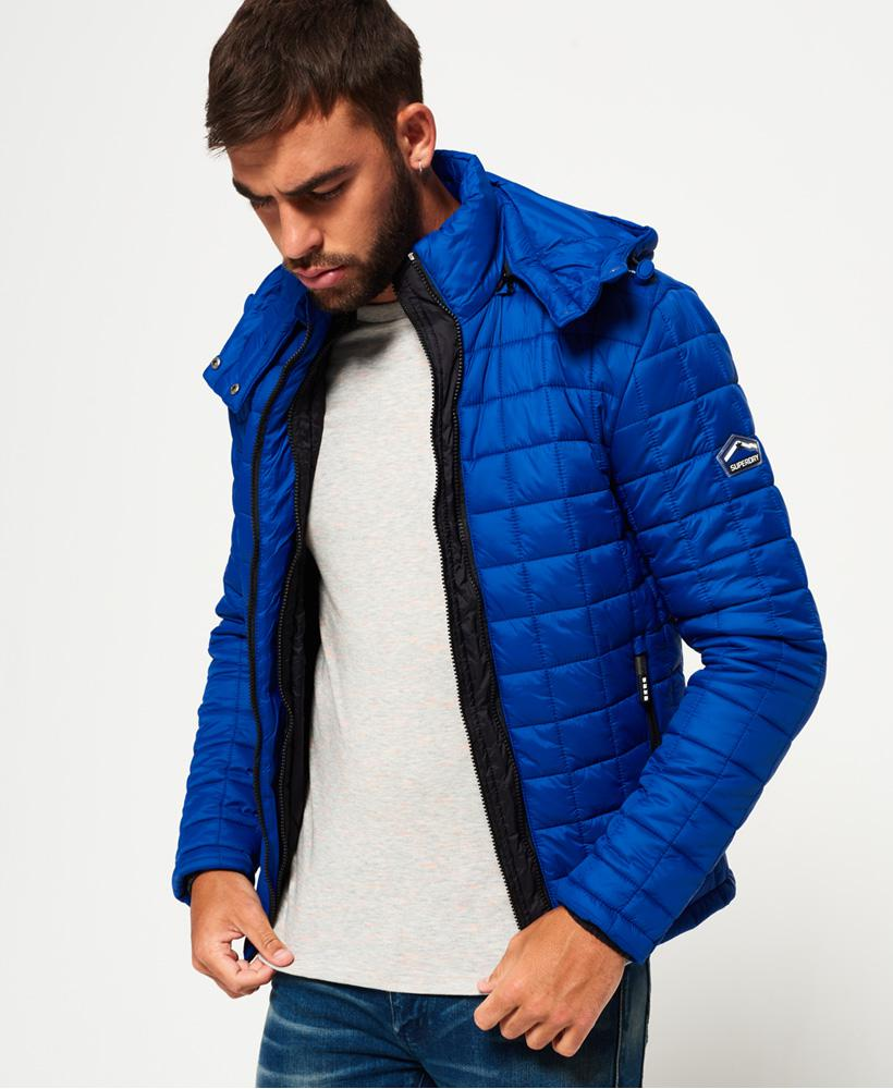 Lyst Superdry Hooded Box Quilt Fuji Jacket In Blue For Men