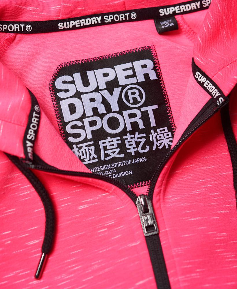 New Womens Superdry Sd Sport Gym Tech Luxe Crop Hoodie Pop Pink Marl