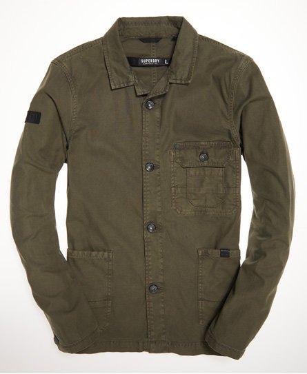 Superdry Leather Surplus Goods Worker Jacket in Green for Men