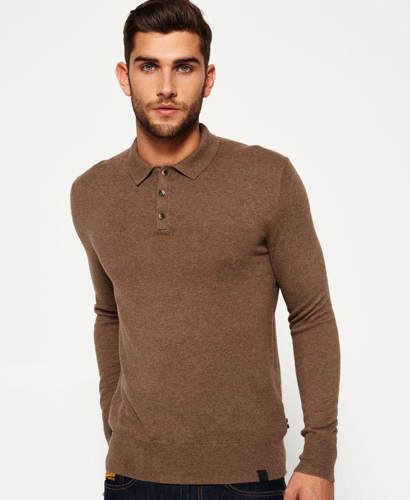 Superdry orange label knit polo jumper in brown for men lyst for Light brown polo shirt