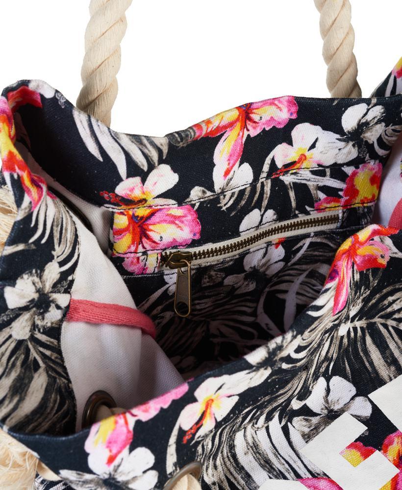 Superdry Canvas Summer Rope Tote Bag in Black