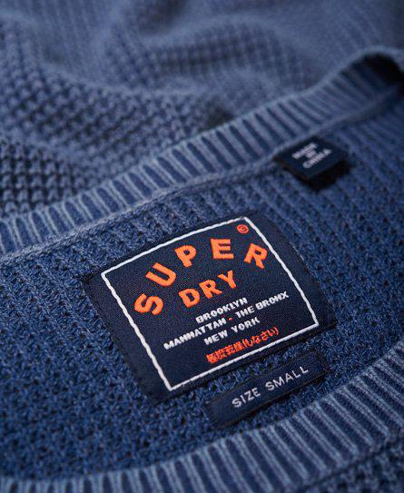 Superdry Cotton Indiana Waffle Stitch Slouch Knit Jumper in Blue